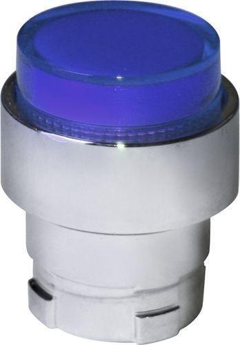 Tête bouton poussoir Métal dépassant lumineux bleu
