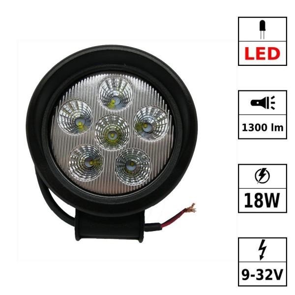 Phare de travail 5 pouces 18W LED cree 920 Lm 12-30V rond fixation visse Spot beam