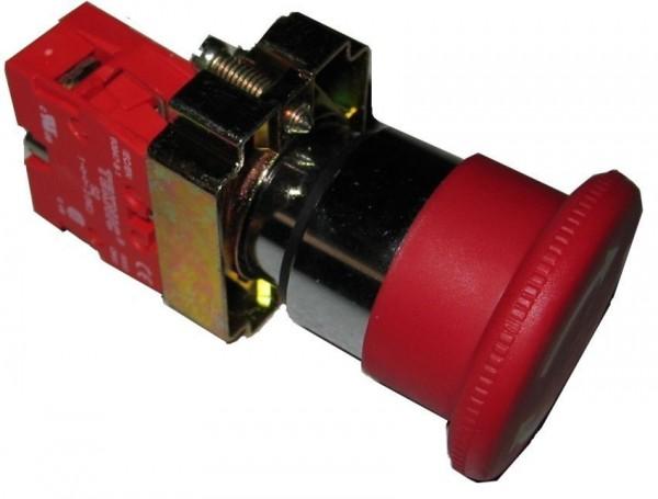 Arrêt d´urgence Métal 40mm 1/4 tour rouge +1 contact NC