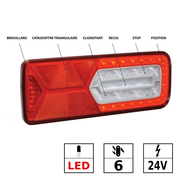 Feu arrière gauche LED 24V 6 fonctions