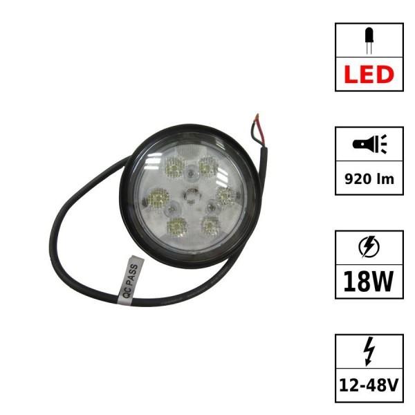 Phare de travail 6 LEDs 12-48VDC 18W rond noir PPMA Driving Beam - Led CREE