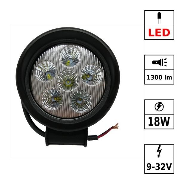 Phare de travail 6 LEDs 9-32Vdc 18W rond noir PPMA Flood Beam - LED CREE