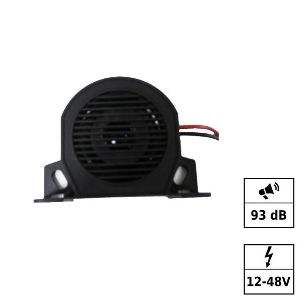 Backup alarm 93dB 12-48V 2 cables IP67