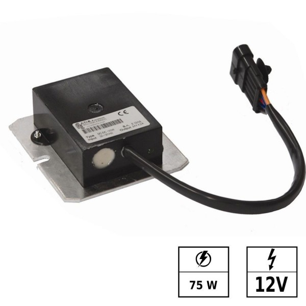 Convertisseur de tension 30-150 VDC/12 VDC 6,3A 75W IP65 Connexion en parallèle possible