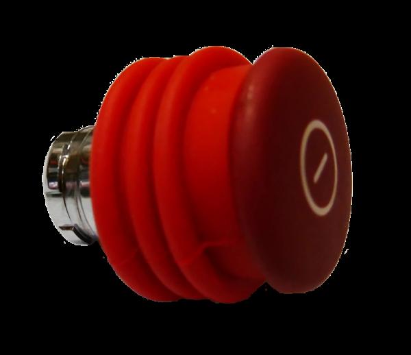 Bouton d´arrêt d´urgence rouge métal 40mm Pousser-Tirer + soufflet rouge compatible contacts IP68