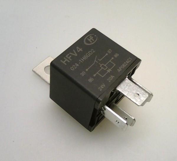 Relais 24V 4 bornes 20A + diode + support métal