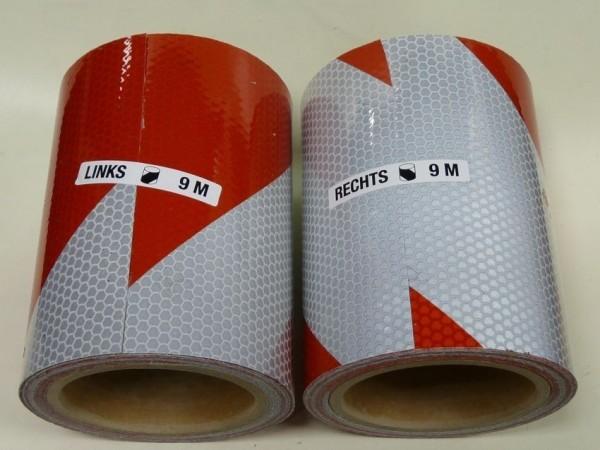 Bande adhésive alternée rouge et blanc class 2 - 2 x rouleaux (D et G) 9m x 14cm Class 2