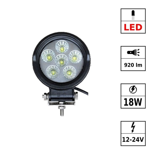 Phare de travail 6 LEDs 12-30Vdc 18W rond PPMA Flood Beam - Led Epistar (PVC cable)
