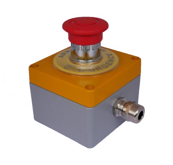 Boitier Arrêt d''Urgence métal EFABox + 1BAU 1/4 + 1NC Schneider - (RAL jaune1004/gris 7001)