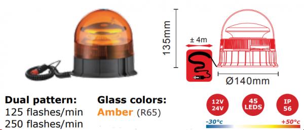 Gyrophare LED - Montage: Aimant 12V-24V ECE R65 + R10
