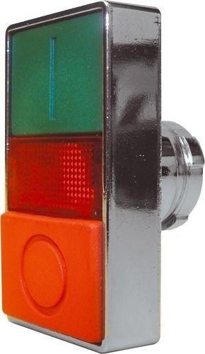Bouton poussoir double métal Vert (I) Rouge (O) - Voyant Rouge