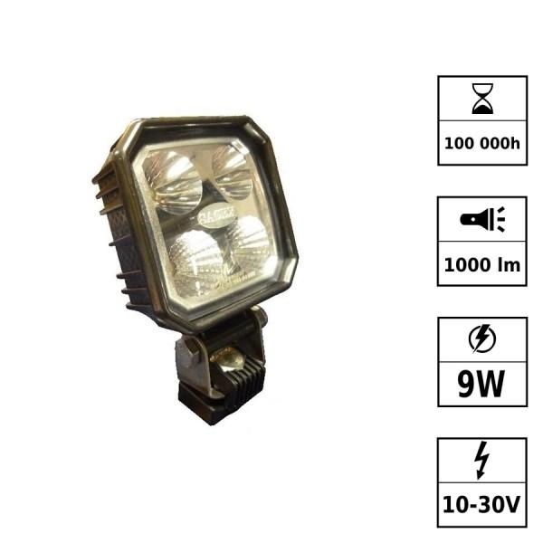 Phare de travail LED 10/30V 12W 1000 Lm CARBONLUX - carré