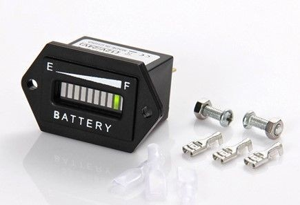 Indicateur de batterie, IP65, affichage à barres LED, carré, fixation par vis, 13mA, 36VDC