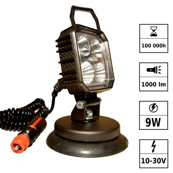 Phare de travail LED portatif 10/30V 9W 1000 Lm Magnétique connect. Deutsch
