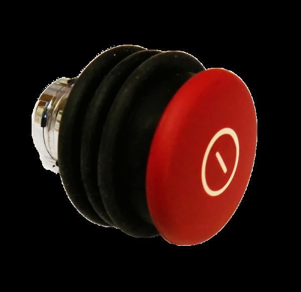 Bouton d´arrêt d´urgence rouge métal 40 mm - Pousser-Tirer + soufflet noir Compatible contacts IP68