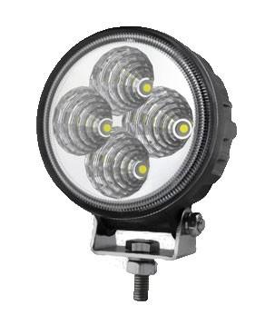 Phare de travail 4 LEDs 840 Lm IP67 9-32Vdc 12W rond lentille plastique