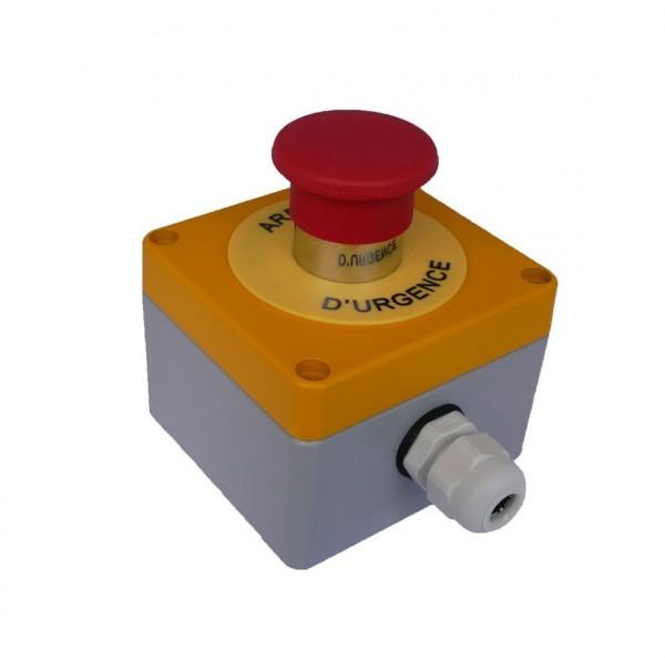 Boitier Arrêt d''Urgence métal + 1BAU P/T + 1NC Teknic - (RAL jaune1004/gris 7001)