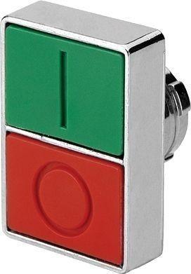 Bouton poussoir double métal affleurant I-vert O-rouge