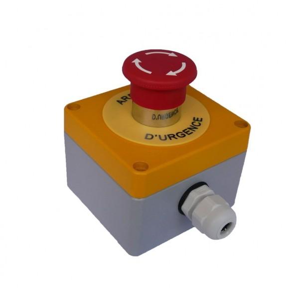 Boitier Arrêt d''Urgence métal + 1BAU 1/4 + 1NC Teknic - (RAL jaune1004/gris 7001)